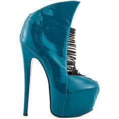 London Trash Women's Crime - Teal Patent ($195) via Polyvore featuring shoes, pumps, heels, blue, patent leather pumps, high heel pumps, winged shoes, teal shoes and teal pumps