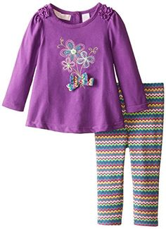 Kids Headquarters Baby Girls Tunic with Flowers and Printed Leggings Purple 12 Months -- Click image to review more details. (This is an affiliate link) #BabyGirlClothingSets