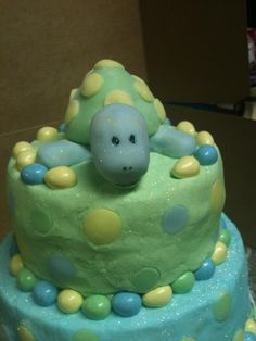 rice crispie turtle baby shower cake ( i only made the turtle)