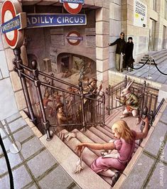 pavement art sidewalk art - only chalk used street art 3d Street Art, Amazing Street Art, Street Art Graffiti, Amazing Art, Graffiti Artwork, 3d Artwork, Street Work, Street Style, Illusion Kunst