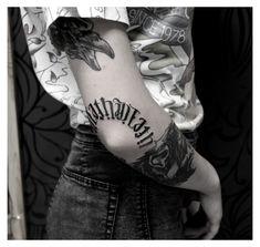 Word Tattoos On Arm, Elbow Tattoos, Knee Tattoo, Forearm Tattoo Men, Body Art Tattoos, Hand Tattoos, Sleeve Tattoos, Cool Tattoos For Guys, Badass Tattoos