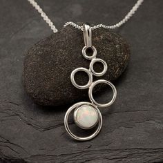 nice Opal Necklace- Opal Pendant- Sterling Silver Necklace with Opal- Opal Jewelry- S...