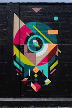 Geometric Street Art by - Art Design Murals Street Art, Graffiti Murals, Street Art Graffiti, Mural Art, Street Wall Art, Graffiti Lettering, Graffiti Artists, Pop Art, Urbane Kunst