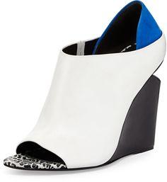 Alexander Wang Alla Colorblock Wedge Bootie, Multi/Chalk/Blue