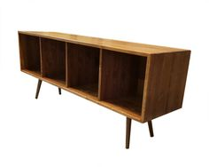 Mid Century Record Storage Bench MADE TO ORDER