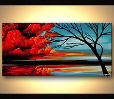 Paysage contemporain, tableau abstrait arbre rouge bleu peinture peinture acrylique originale par Osnat - sur commande - 48 « x 24 »