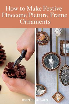 Decorate your Christmas tree and around your home with these festive pinecone ornaments that are an easy, kid-friendly holiday craft. Follow our step-by-step tutorial for these beautiful handmade ornaments that make great keepsakes or holiday gifts with cherished family photos in pinecone frames. #marthastewart #christmas #diychristmas #diy #diycrafts #crafts Fall Crafts, Holiday Crafts, Diy And Crafts, Kid Crafts, Pinecone Ornaments, Handmade Ornaments, Christmas Ornaments, Picture Frame Ornaments, Picture Frames