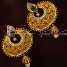 d0ced0c9f73 ER12039 Antique Matte Gold Big Size Earrings Jhumka Drops AD Multi Colour  Stones Jewellery Online