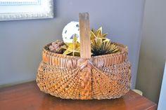 Vintage Large Woven Basket | Oak Ribbed Gathering Basket | Buttocks Basket | Deep Woven Basket with Thick Wooden Handle | Old Basket