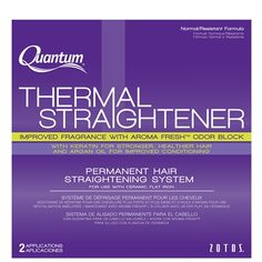SP-9019301 QUANTUM THERMAL STRAIGHTENER NORMAL RESISTANT FORMULA  The Quantum Thermal Straightener formula contains Aroma-Fresh Odor Block technology to control odor both during and after processing and give hair a fresh, clean scent. Infused with Argan Oil and Keratin, the Leave-In Treatment, along with the patented Equalizer 3, enhances shine, improves manageability while leaving hair in superior condition. Thermal insulators provide extra protection against heat damage.