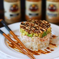 CRAB SALAD SUSHI STACK FLAVORGOD.COM - This is undoubtedly as delicious as it looks - @stephiiicooks: Sushi stack Serves 4 For the rice- 2 c sushi rice 1.5 T rice vinegar 1 T granulated sugar 1/2 tsp salt - Cook rice according to package. Once it's done cooking, scoop all of the rice out into a glass baking pan. Remove and burnt/overcooked parts. Place the vinegar, sugar & salt in a microwave safe dish and heat for at least 30 seconds. Pour directly over rice and gently fold repeatedly un...