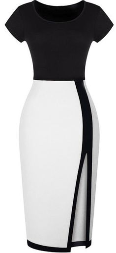 Split Slim Black and White Dress