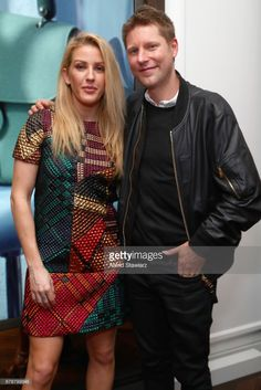 Musician Ellie Goulding and Burberry CEO Christopher Bailey attend the launch of the Burberry DK88 Bag hosted by Christopher Bailey at Burberry Soho on May 2, 2017 in New York City.