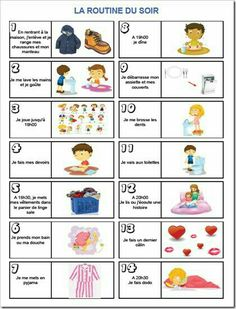 La routine du soir www. French Lessons, Teaching French, Google Classroom, Learn French, Kids Education, Kids And Parenting, Montessori, Your Child, Activities For Kids