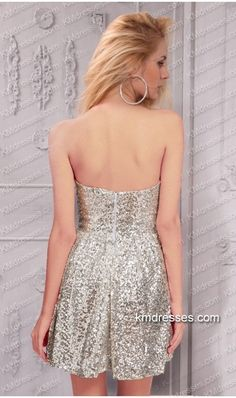 sexy strapless sweetheart sequin embellished short Prom Dress Silver Dresses http://www.IkmDresses.com/sexy-strapless-sweetheart-sequin-embellished-short-Prom-Dress-p59518 …