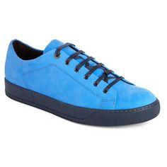 Men's Lanvin Low Top Cap Toe Sneaker (7.858.795 IDR) ❤ liked on Polyvore featuring men's fashion, men's shoes, men's sneakers, blue nubuck leather, mens nubuck shoes, mens blue sneakers, mens blue shoes, mens cap toe shoes and lanvin men's shoes