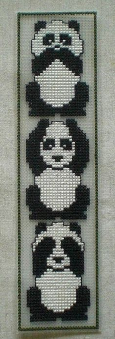 See no evil, Hear no evil, Speak no evil pandas - shown in reverse order here Cross Stitching, Cross Stitch Embroidery, Hand Embroidery, Bead Loom Patterns, Beading Patterns, Cross Stitch Designs, Cross Stitch Patterns, Diy Broderie, Cross Stitch Bookmarks