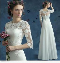 Grace Formal Women White Lace Bridal Wedding Dress Cocktail Prom Long Floral