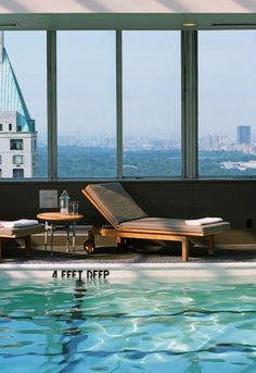 """The heated rooftop pool at Le Parker Meridien is open around the clock, offers """"room service"""" and views of Central Park."""