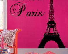 Take me to Paris Line 4ft High Eiffel TOWER vinyl wall decal decor