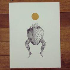 """"""" Ilustración para el hechizo número 142 de la sección de luna llena """" rápidografo sobre durex. #Himallineishon #art #illustration #drawing #strawberry"""