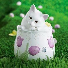 Butterfly Meadow Kitten Cookie Jar