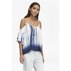 French Connection Holiday Wave Cold Shoulder Top ($118) ❤ liked on Polyvore featuring tops, indigo multi, holiday tops, cut-out shoulder tops, white scoop neck top, tie-dye tops and white cold shoulder top
