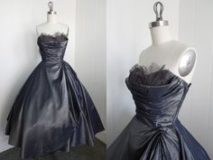 1950's Vintage Gray Prom Dress with Shelf Bust by vintagebluemoon, $450.00