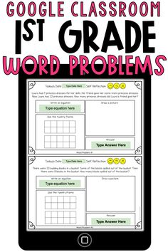 These Google Classroom 1st grade word problems are perfect to use for digital learning. These addition and subtraction word problems involve taking apart, putting together, and comparing with unknowns in all positions. These are to be used in Google Slides.