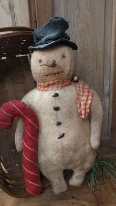 Image result for Primitive Snowman in vintage ice cream cup with spoon