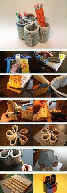 Phone books are pretty much useless now. So why not make it in to a craft? Haha pencil holder? Sure.
