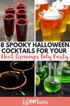 8 Spooky Halloween Cocktails For Your Next Grownups Only Party If you love Halloween, then you need to try these Halloween cocktails for your next party. Just be sure to keep the kids away from the drink table- these are not kid-friendly! Spooky Halloween, Halloween Shots, Halloween School Treats, Halloween Party Supplies, Halloween Food For Party, Halloween Birthday, Halloween Decorations, Halloween Halloween, Halloween Makeup