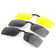 400e7ed158 Polarized Clip On Sun Glassess Night Vision Clip Driver Glasses Lens