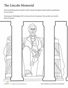 worksheets summer vacation coloring the lincoln memorial