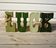 St+Patrick's+Day+LUCK+wooden+mantle+sign+with+by+craftjunkie28,+$25.00