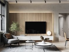 Interior in private house kitchen-living room on Behance Living Room Wall Units, Living Room Tv Unit Designs, Living Room Kitchen, My Living Room, Interior Design Living Room, Living Room Decor, Sofa Design, Decoration, Behance