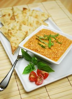 Spicy Tomato-Feta Dip with Grilled Pita Bread