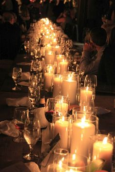 Candlelight tablescape,never too many candles!  Again a rectangle table