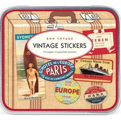 30 Cavallini Vintage Travel Stickers, Bon Voyage Sticker Tin, Moving Home Stickers, DIY Card Making Stickers, Vintage Stickers Vintage Stickers, Sydney, Hard Suitcase, Travel Collage, Clear Stickers, Label Stickers, Craft Stickers, Lovely Travels, Hotel Paris