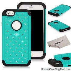iPhone 6 4.7 Case SGM Hybrid Gel Rhinestone Bling Armor Defender Case for Apple iPhone 6 (4.7) (2014) (Turquoise  Black)