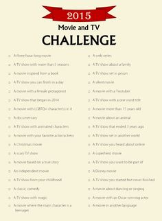 2015 movie and tv challenge - Google Search
