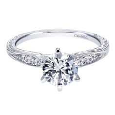 14K White Gold 1.10cttw Vintage Style Round Diamond Engagement Ring with Engraved Shank from Mullen Jewelers