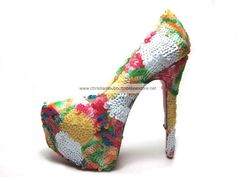Christian Louboutin Glitter Daffodile Brodee 160mm Embroidery Multicolor Platform Pumps