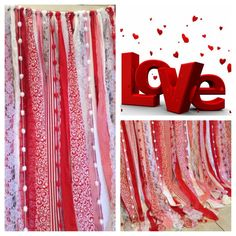 Valentine garland backdrop made of various fabric strips of multiple patterns ands solids in colors: red, pink and white. Torn and rag tied - edges are meant to fray. Listed garland is: 5 ft wide X 5 to 7 ft (varying) long....($20.00 per additional foot in width) Perfect for accenting