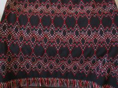 Swedish Weaving Blanket or Afghan - Black Monk's Cloth - Yarn in Red, Grey, Salmon and Off White