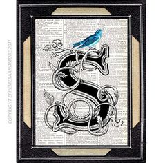 Victorian LETTER S initial monogram typography art print on vintage dictionary book page Text ART Alphabet Blue Bird 5x7