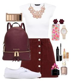 """School: wednesday"" by cid-paradero on Polyvore featuring Miss Selfridge, Vans, Michael Kors, Casetify, Marc Jacobs, Urban Decay, tarte and Essie"