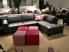 Black leather sectional by HTL Furniture. // .KeyHomeFurnishings.com in Portland : htl leather sectional - Sectionals, Sofas & Couches