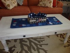 Our upcycled coffee table with some new 4th decorations!