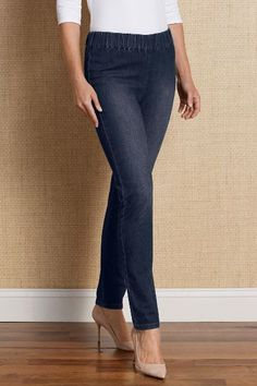 """Metro Leggings Here's our top-selling denim leggings, in our revolutionary Triple """"S"""" 4-way stretch fabric to include a stylishly modified flat elastic waistband. Sits comfort"""